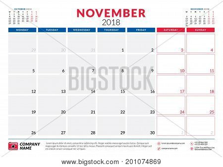 November 2018. Calendar Planner Design Template. Week Starts On Monday. Stationery Design