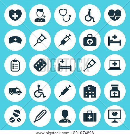 Antibiotic Icons Set. Collection Of Rhythm, Remedy, First-Aid And Other Elements