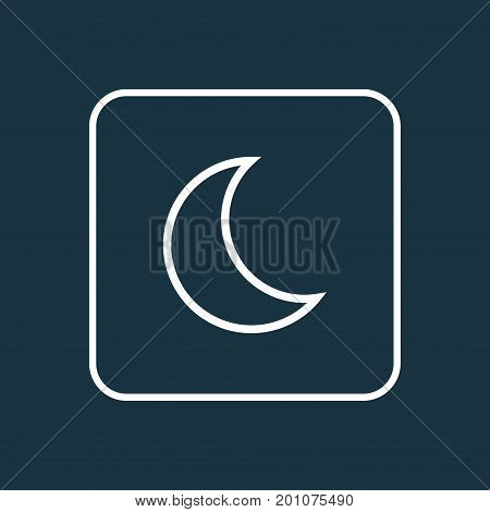 Premium Quality Isolated Moon Element In Trendy Style.  Nigth Outline Symbol.