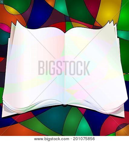 abstract colored background and image of empty book consisting of lines
