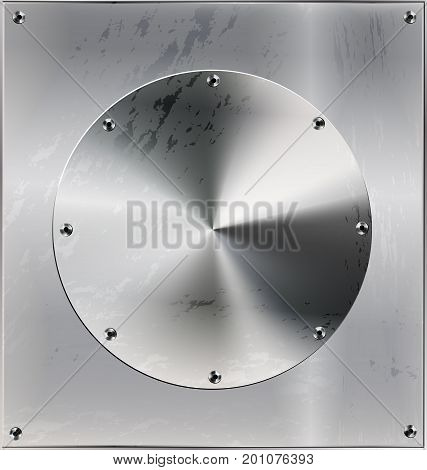 iron background metal stylized sheet with geometric figure circle and holes