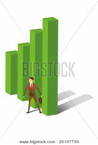 Executive standing between uptrend bar
