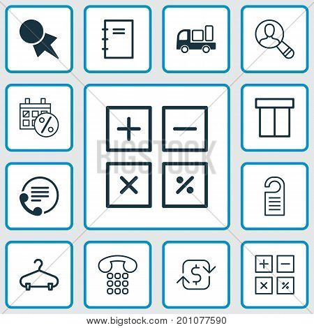 Ecommerce Icons Set. Collection Of Spiral Notebook, Discount Coupon, Callcentre And Other Elements