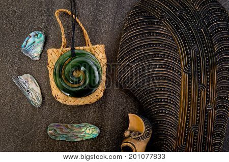 New Zealand - Maori Themed Objects - Mere, Greenstone And Woven Kite Bag With Shells