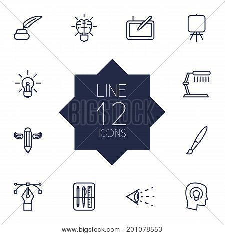 Collection Of Table Lamp, Easel, Concept And Other Elements.  Set Of 12 Creative Outline Icons Set.