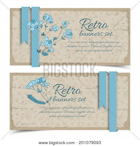 Vintage natural horizontal banners with blue flowers ribbons on flowery decorative background vector illustration