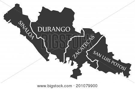 Sinaloa - Durango - Zacatecas - San Luis Potosi Map Mexico Illustration