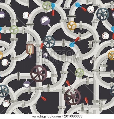 Industrial pipeline seamless pattern with valves tubes fittings selectors manometers on dark background vector illustration
