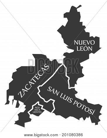 Zacatecas - Nuevo Leon - San Luis Potosi - Aguascalientes Map Mexico Illustration
