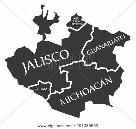 Aguascalientes - Jalisco - Colima - Guanajuato - Michoacan Map Mexico Illustration