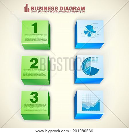 Abstract business infographics with 3d green and blue blocks three options diagram chart isolated vector illustration