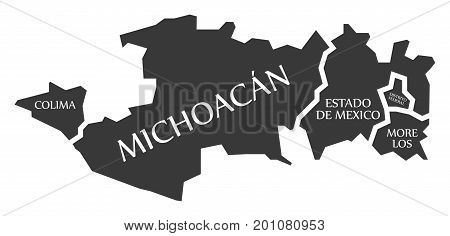 Colima - Michoacan - Estado De Mexico - Distrito Federal - Morelos Map Mexico Illustration