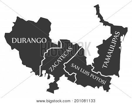 Durango - Zacatecas - San Luis Potosi - Tamaulipas Map Mexico Illustration