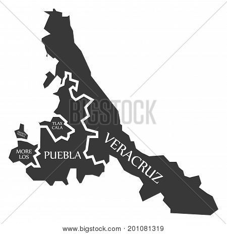 Distrito Federal - Morelos - Tlaxcala - Puebla - Veracruz Map Mexico Illustration