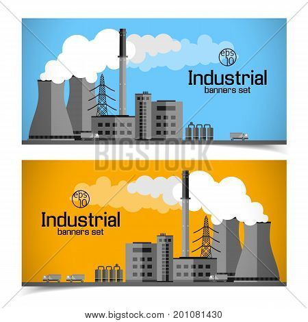 Horizontal banners with industrial enterprise white clouds of smoke power lines and trucks isolated vector illustration