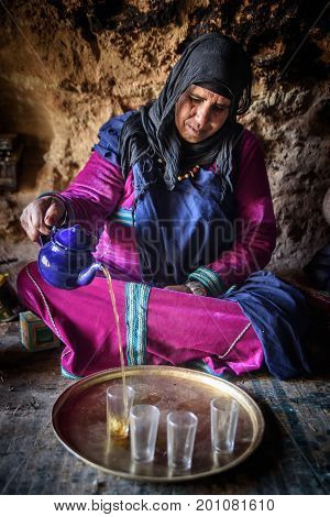 Nomad Woman Living In The Cave, Nomad Valley, Atlas Mountains, Morocco
