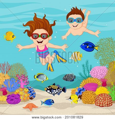 Vector illustration of Cartoon kids diving under the tropical ocean