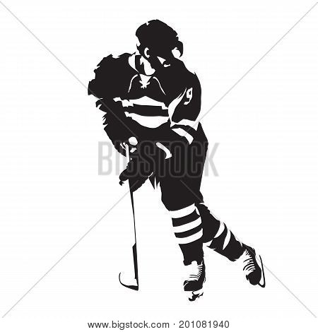 Ice hockey player abstract isolated vector silhouette