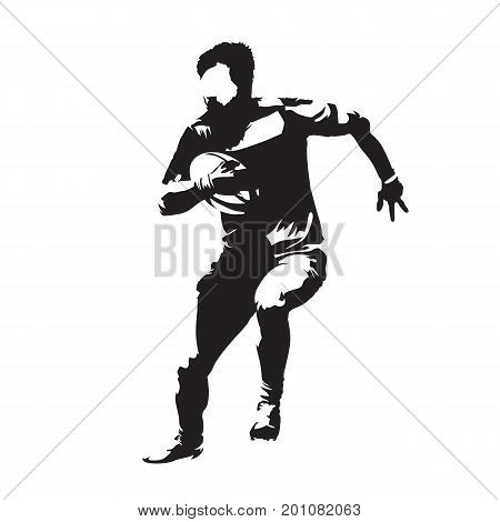 Rugby player running with ball abstract vector silhouette front view