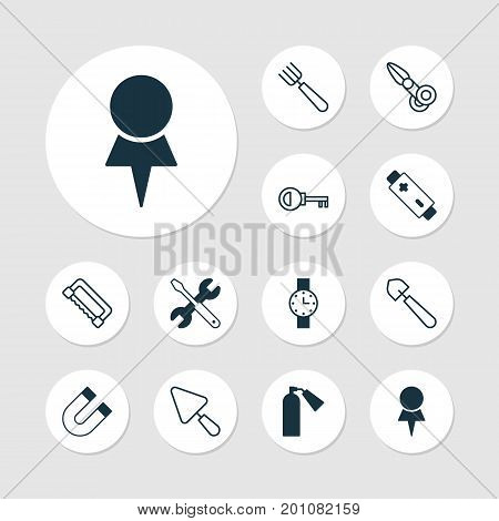 Tools Icons Set. Collection Of Attraction, Location, Clippers And Other Elements