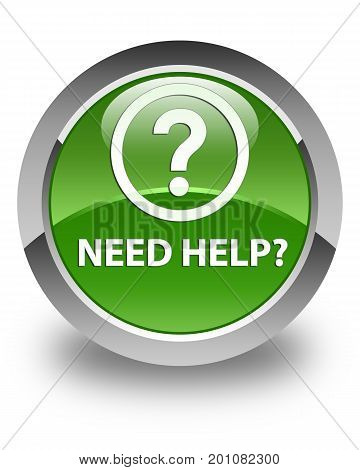Need Help (question Icon) Glossy Soft Green Round Button