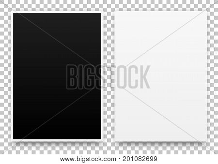 A2 white and black posters realistic template, mock-up with margins, realistic shadow and transparent background for design concepts, presentations, web, identity, prints. Vector illustration.