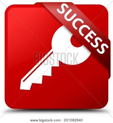 Success (key Icon) Red Square Button Red Ribbon In Corner