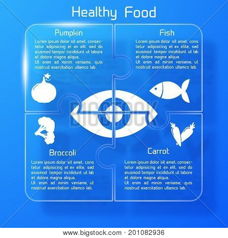 Healthy food infographics puzzle design with products icons valuable for human eye on blue background vector illustration