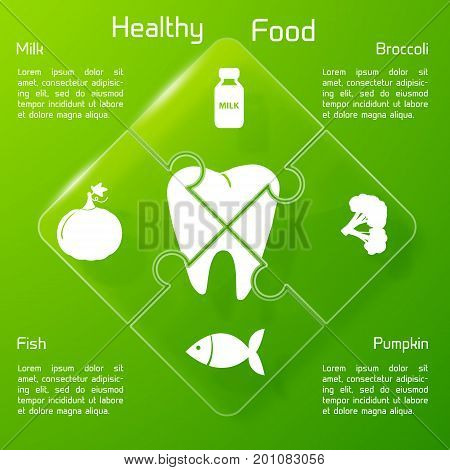Healthy food infographics with products icons valuable for human teeth on connected puzzle elements vector illustration