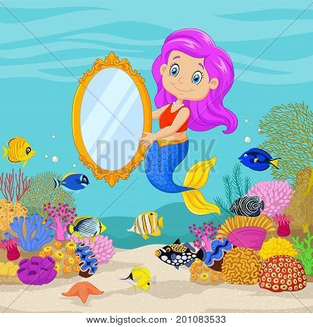 Vector illustration of Cute mermaid holding a classic mirror in underwater background
