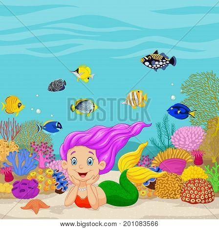 Vector illustration of Cartoon mermaid in the underwater background