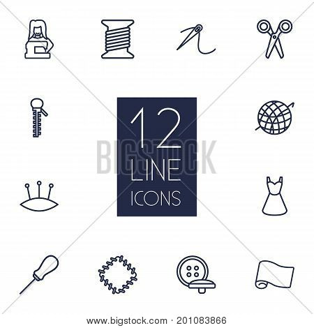 Collection Of Bobbin, Pincushion, Zipper And Other Elements.  Set Of 12 Tailor Outline Icons Set.