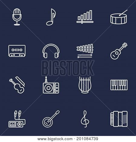 Collection Of Record, Note, Stringed And Other Elements.  Set Of 16 Song Outline Icons Set.