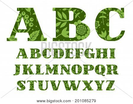 English alphabet, berries and herbs, dark green, vector.  Capital letters of the English alphabet with serif. Green twigs with berries on a dark green background.