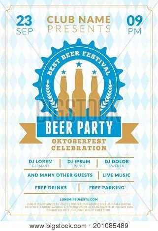 Beer Festival Oktoberfest Celebrations. Vintage Beer Label On The Traditional Bavarian Linen Flag Ba