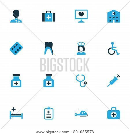 Drug Colorful Icons Set. Collection Of Physician, Help, Pellet And Other Elements