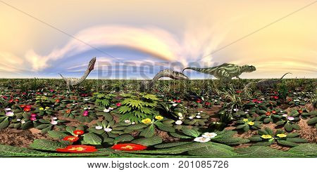 Computer generated 3D illustration with a spherical 360 degrees seamless panorama of the dinosaurs Yangchuanosaurus and Coelophysis