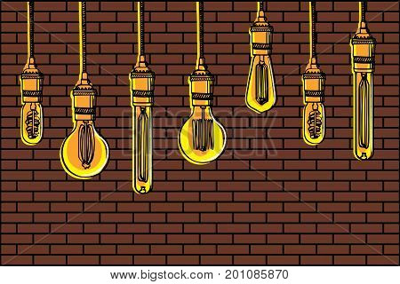 Hand drawn vector set of different geometric loft lamps against a brick wall background. Edison lamps and modern chandeliers sketch. Vintage light bulbs doodle art hanging free hand line style vector