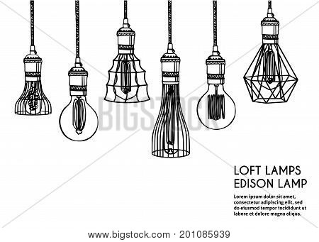 Hand drawn vector set of different geometric loft lamps.  Edison lamps and modern chandeliers sketch. Vintage light bulbs doodle art hanging free hand line style vector.