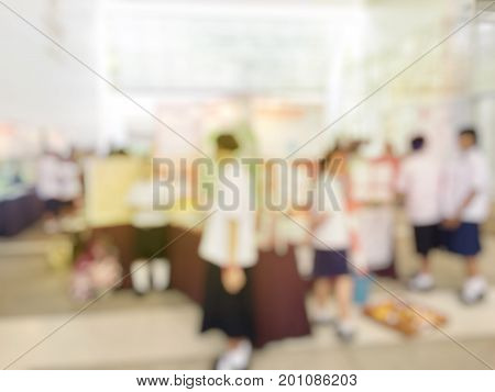 Abstract Blurred Image Of  People In Press Conference Room, Business Concept, Official New Product L