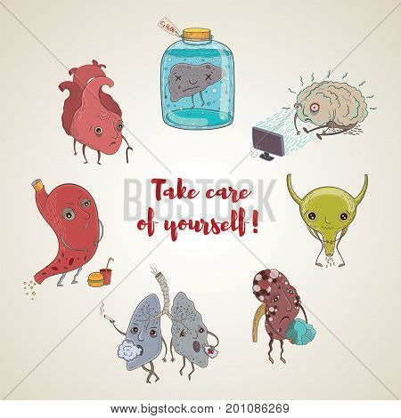 Cartoon vector illustration of unhealthy human organs. Funny educational illustration for kids. Isolated characters. Take care of yourself!
