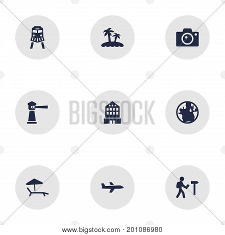 Collection Of Traveler, Planet, Seamark And Other Elements.  Set Of 9 Travel Icons Set.