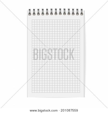 Blank copybook with metallic spiral. Template mock up of organizer or diary isolated. Cell notebook