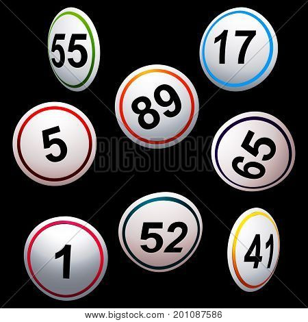 3D Illustration of Curved Bingo Lottery Numbers in Different Colours Over Black Background