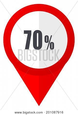 70 percent red web pointer icon. Webdesign button on white background.