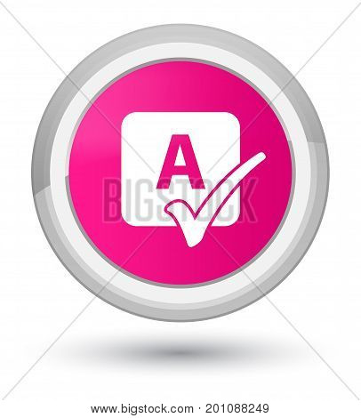 Spell Check Icon Prime Pink Round Button