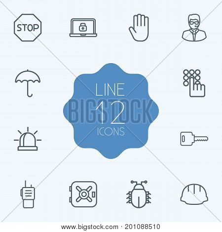 Collection Of Alarm, Keypad, Lock And Other Elements.  Set Of 12 Procuring Outline Icons Set.