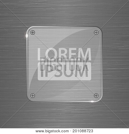Metal Background with glass transparent plate and rivets. Metallic grunge texture. Techno vector illustration. Brushed Steel, iron, aluminum surface. Abstract gray template. Engineering, construction