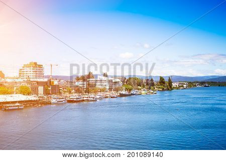 Valdivia view and Calle-Calle River at summer, Chile
