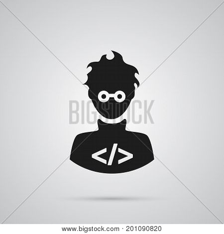 Vector Coder Element In Trendy Style.  Isolated Programmer Icon Symbol On Clean Background.